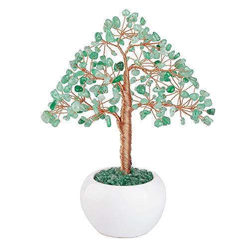 CrystalTears Green Aventurine Crystal Money Tree Feng Shui Natural Healing Crystal Gemstone Bonsai Tree for Home Office…