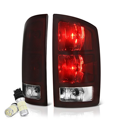 VIPMOTOZ OE-Style Smoke Red Lens Tail Light Right Lamp Assembly w/Circuit Board For 2002-2006 Dodge RAM 1500 2500 3500 Pickup Truck - Full SMD LED Reverse Bulbs Included, Driver & Passenger Side