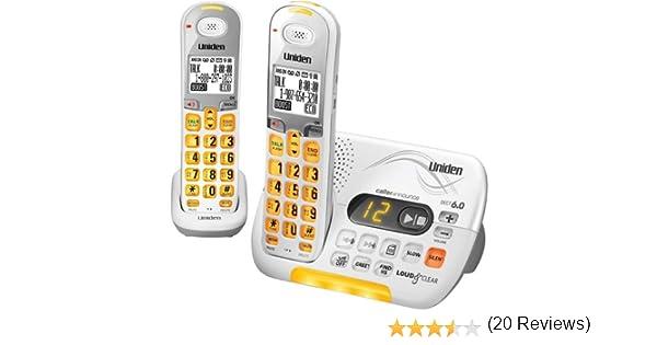 Uniden DECT 6.0 sistema de contestador teléfono inalámbrico con identificador de llamadas y 1 adicional DCX 309 microteléfono – blanco (D3097 – 2): Amazon.es: Oficina y papelería