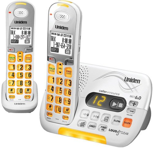 Uniden DECT 6.0 Cordless Phone with Caller ID Answering System and 1 Additional DCX 309 Handset - White (D3097-2) by Uniden
