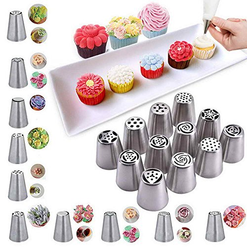 Toolsempire 12pcs Stainless Steel Russian Pastry Piping Nozzles Cake Decorating Icing Tips Baking Tools