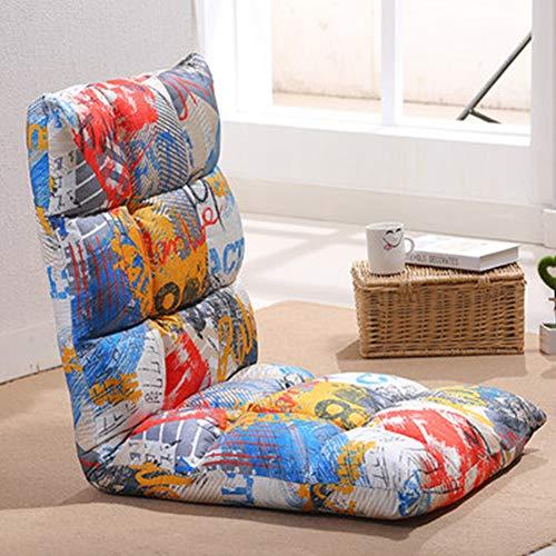 YHSGD Silla de Piso Silla de computadora Respaldo Plegable Tatami Lazy Couch Graffiti Transpirable Multiples Posiciones Extraibles y Lavables,D