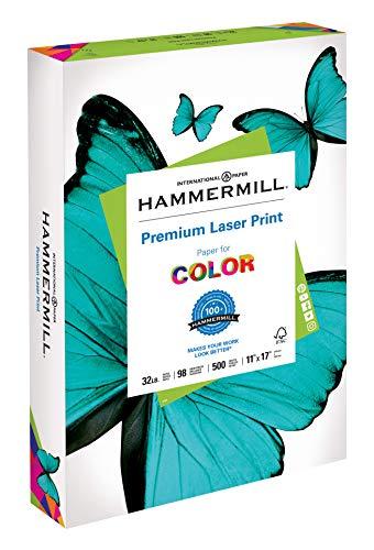 Hammermill Paper, Premium Laser Print Paper, 11 x 17 Paper, Ledger Size, 32lb Paper, 98 Bright, 1 Ream / 500 Sheets (104653R) Acid Free Paper ()