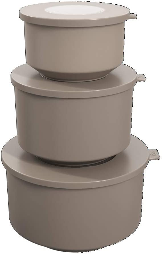 Coza- Hoop Collection- Leak Proof Food Container with Air Tight Lids Set of 3 (6 Pieces Total)- BPA Free & Microwave Safe (Warm Gray)