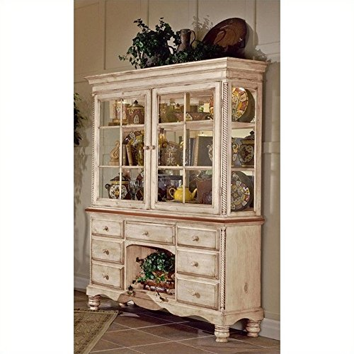 Hillsdale Furniture 4508BH Wilshire Buffet and Hutch in Antique White,