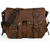 Peacechaos Mens Canvas Leather DSLR SLR Vintage Camera Messenger Bag