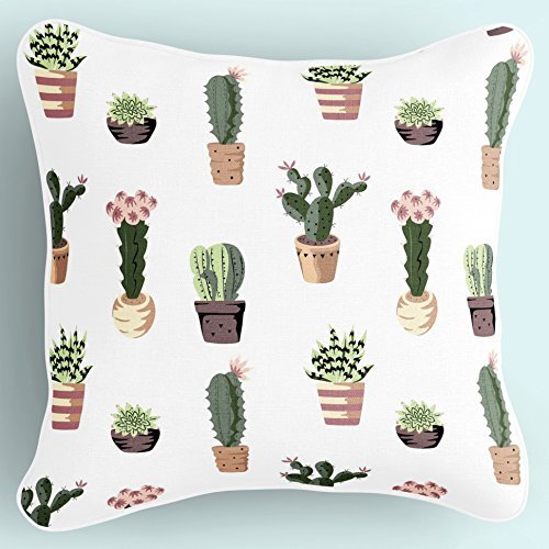 Lume.ly - Green Plants Succulent Cactus Print Decorative Throw Pillow Cushion Cover Case for Bedroom Couch, Unique Luxurious Designer Bright Art Decor Home Decoration (18 x 18 inches, White & Green)