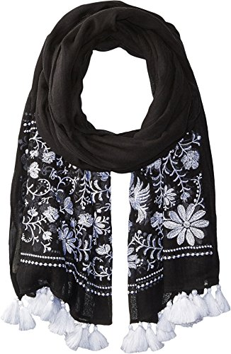 Kate Spade New York Women's Otomi Embroidery Oblong Black Scarf by Kate Spade New York