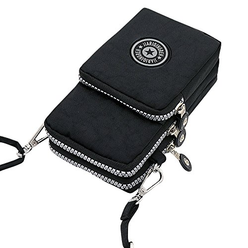 Purse Black Handbag Layers Messenger Crossbody 3 Wristlet Wocharm Womens Mini Shoulder 6Zwaaz1q
