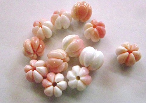 Cabochon stone 10mm full strand conch shell gergous pink red shell round carved jewelry beads ()