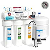 Express Water 5 Stage Under Sink Reverse Osmosis Filtration System 50 GPD RO Membrane Filter Modern Faucet Pressure Gauge Ultra Safe Residential Home Drinking Water Purification One Year Warranty