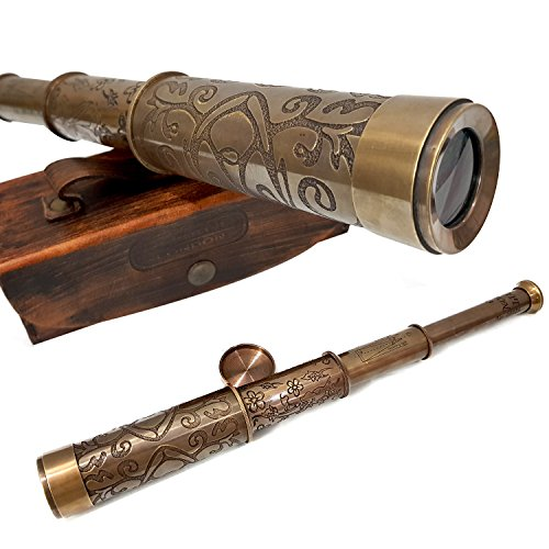 collectiblesBuy A Brass Nautical Handmade Retro Telescope Vintage Leather Box Pirate Movie Prop Designer Spyglass from collectiblesBuy