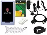 TPA- Ultimate Premium Accessory Bundle Combo for Microsoft Zune HD 16GB / 32GB Series MP3 Player: Clear/White Silicone Skin Case Cover, Car Charger, Wall / Travel / AC Adapter Charger, 2in1 Sync USB Cable, Adjustable Armband, Belt Clip, Fishbone Style Key