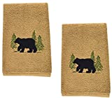 Black Bear Cotton Terry Applique Embroidered Fingertip Towel - Set of 2