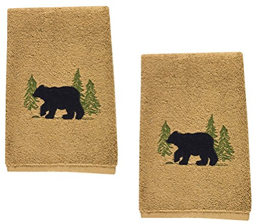 Black Bear Cotton Terry Applique Embroidered Fingertip Towel - Set of 2 - Bear Towel Set