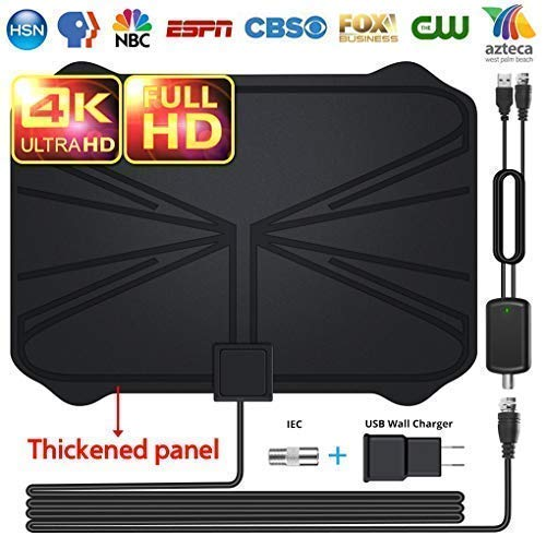 【2019 Latest】Professional TV Antenna-Indoor Digital HDTV Antennas Amplified 120+ Miles Range 4K HD VHF UHF Freeview for Life Local Channels and Programming for All Type of Television
