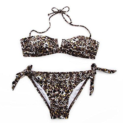 RELLECIGA Bikini Halter correa desmontable de la mujer bañadores Estampado De Leopardo