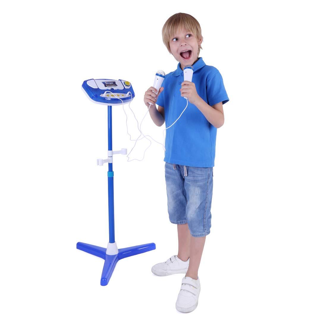 Kinder Karaoke Maschine, Lommer Musik Show Spielzeug Set mit 2 Mikrofonen und verstellbaren Stand - 18,5 * 18,5 * 37.4inches