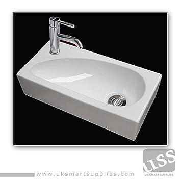 Rectangular Stylish LEFT HAND Small Hand Wash Cloakroom Basin/Sink  1 Tap  Hole