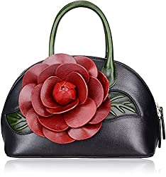 Pijushi Designer Floral Collection Inspired Ladies Handmade Leather Top Handle Handbags 8827 (Black)