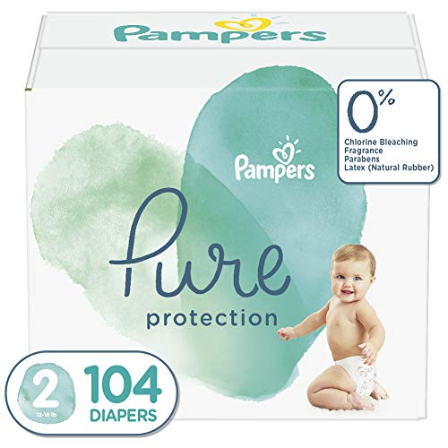 Diapers Size 2, 104 Count – Pampers Pure Disposable Baby Diapers, Hypoallergenic and Unscented Protection, Giant Pack