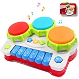 Musical toys, AMOSTING Music Piano Keyboard Drums Learning Toy Best Christmas Gift for Toddler Baby Kids Educational Game