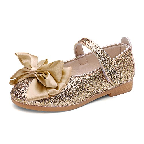 CIOR Toddler Girls Ballet Flats Shoes Beaded Rhinestone Ballerina Bowknot Mary Wedding for Party Princess Dress from Merence,VGZ01,G.Gold,28