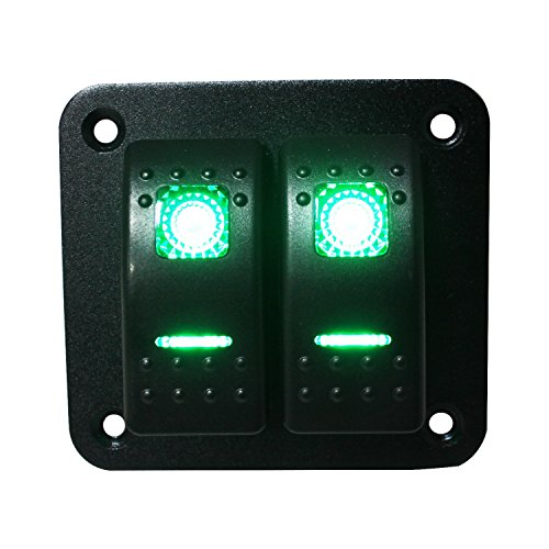 FXC Rocker Switch Aluminum Panel 2 Gang Toggle Switches Dash 5 Pin ON/OFF 2 LED Backlit for Boat Car Marine Green (Backlit Panel)