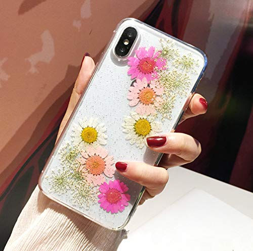 JANDM Real Flower iPhone XR Case, Pressed Dried Daisy Flower Soft Flexible Silicone Cover, Crystal Clear Glitter Girls Feminine Floral Case for iPhone XR-Pink