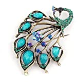 Cheri-Broche Style vintage incroyable turquoise bleu paon strass