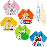 Lictin Bibs with Sleeves, Set of 5 Unisex Baby Waterproof Long Sleeved Bibs for 6-month Infants to 3-year-old Toddlers with 2 pcs 100% Cotton Baby Handkerchief(Cute Duck Design) M