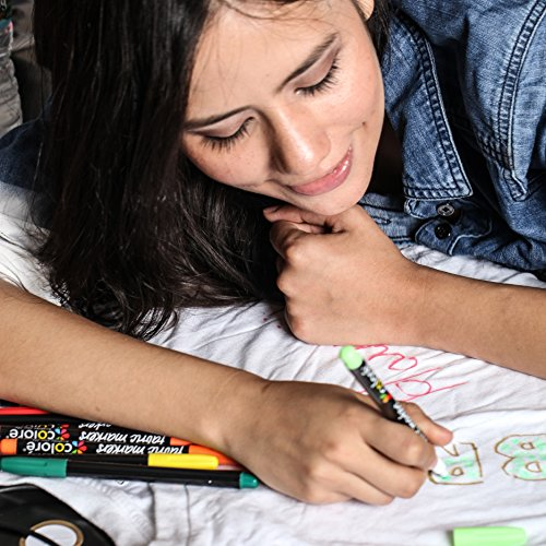 Colore Premium Fabric Markers - 20 Rich Pigment Fine Permanent Graffiti Coloring Pens - Child Safe & Non Toxic - For Art Writing on Bags, Shoes, T-shirts & Other Fabric Paint Materials