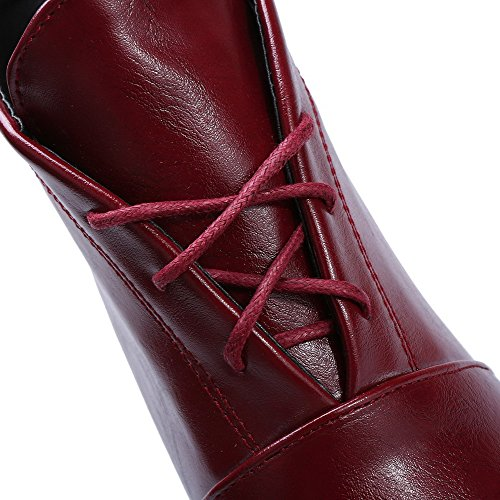 AllhqFashion Womens Soft Leather Lace-Up Round Closed Toe High-Heels Low-Top Boots Claret 3WBbo