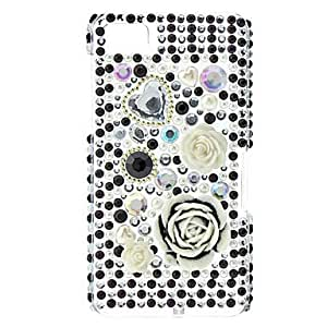 Big Flower Pattern Hard Case with Rhinestone for Blackberry Z10