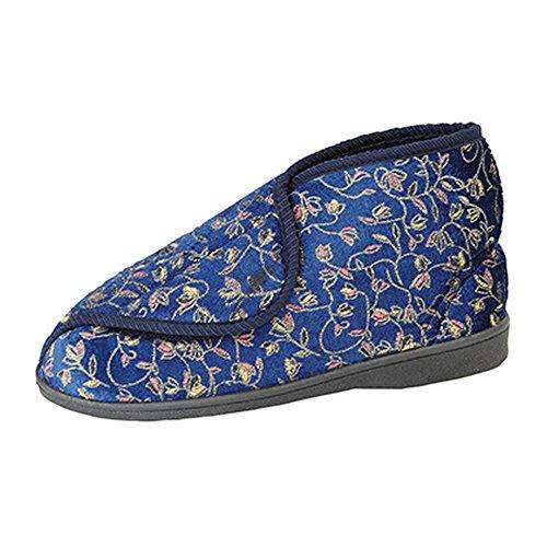 Zedzzz - Zapatillas de estar por casa modelo Geraldine con cierre de velcro para mujer Azul real