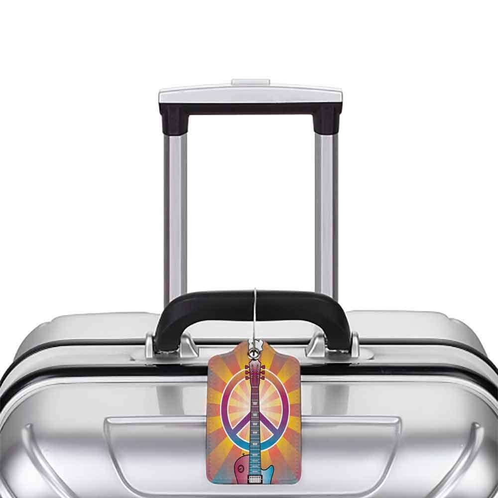 Personalized luggage tag 1960s Decor Colorful Illustration of Guitar Peace Symbol and Dove Dedicated to the Woodstock Artsy Tribute Easy to carry Multi W2.7 x L4.6