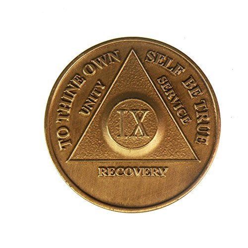 wendells 9 Year Bronze AA (Alcoholics Anonymous) - Sober / Sobriety / Birthday / Anniversary / Recovery / Medallion / Chip
