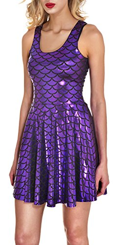 Jescakoo Ladies Bling Fish Scale Mermaid Dresses for Party Costumes Purple M]()