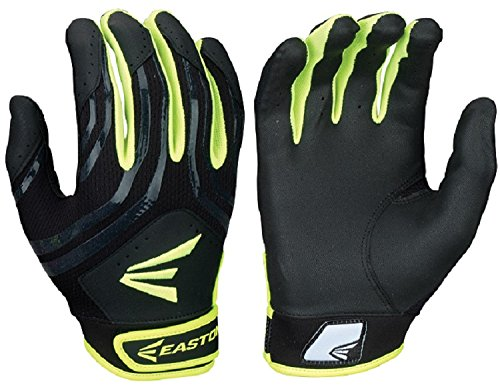 Fastpitch Softball Batting Glove - Easton Hyperskin - HF3 Fastpitch Batting Gloves, Black/OP, Medium