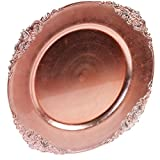Koyal Wholesale Vintage Charger Plate, Rose Gold (Pack of 4)