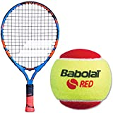 Babolat Ballfighter Blue/Orange 17 Inch Child's Tennis Racquet Bundled with 3 Red Training Tennis Balls (Best Starter Kit for Kids Age 5 and Under)