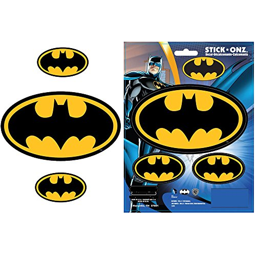 Batman Colored Bat Logo Superhero DC Comics Movie Auto Car Truck SUV Vehicle Garage Home Office Wall Decal Sticker - 3pc Stick Onz ()