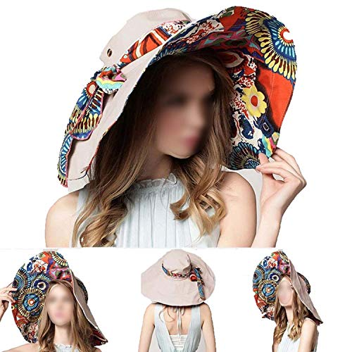 Fashion Design Flower Foldable Brimmed Sun Hat Summer Hats for Women UV Protection,Light Coffee]()