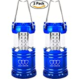 LED Camping Lantern - GoldArmour Camping Lantern,Outdoor LED Lantern Flashlights Water Resistant Home Garden Portable for Hiking, Emergencies, Hurricanes (Blue, 2 Pack)