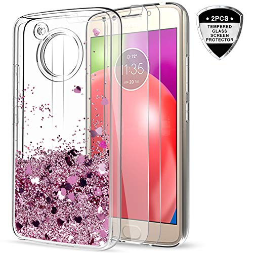 Moto E4 Case (USA Version) with [2 Pack] Tempered Glass Screen Protector for Girls,LeYi Glitter Shiny Liquid Quicksand Clear TPU Protective Phone Case for Motorola Moto E (4th Gen) ZX Rose Gold