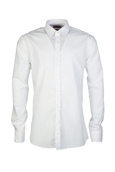 cd9f22837 Amazon.com: Hugo Boss Mens Smart Shirt ELISHA01 50291326 Size 42 White: HUGO  BOSS: Clothing