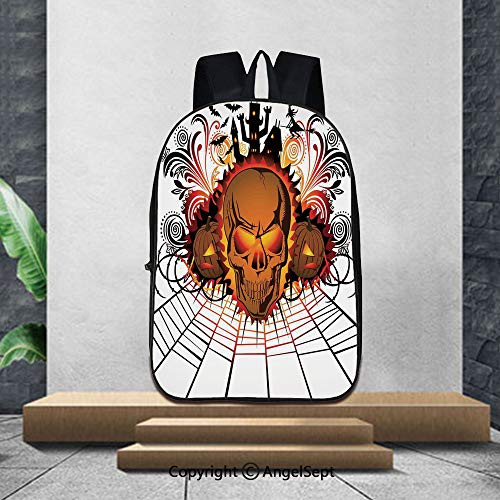 Printed Customized Casual Book Bag,Halloween DecorationsAngry Skull Face on Bonfire Spirits of Other World Concept Bats Spider Web,16.5