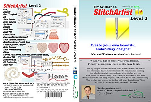 Embrilliance StitchArtist Level 2 Digitizing Embroidery Software for MAC & PC (Embroidery Software Designs)
