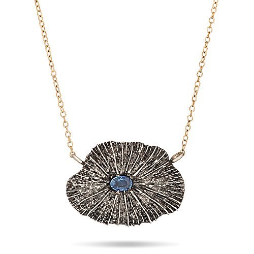 Sapphire Mushroom - Mushroom coral sapphire, sterling silver and gold filled necklace