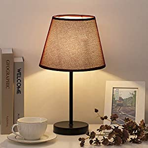 HAITRAL Bedside Table Lamps - Simple Desk Lamps Set of 2 with Red Wine Fabric Shade, Small Nightstand Lamp for Bedrooms, Office, Dorm, Girls Room - 16.2 Inches (HT-TH69-34X2)